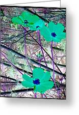 Abstract Flowrs In Green And Blue Greeting Card