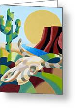 Abstract Futurist Soutwestern Desert Landscape Oil Painting  Greeting Card by Mark Webster