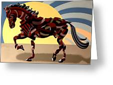 Abstract Geometric Futurist Horse Greeting Card