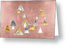 Abstract Geometric Triangles, Gold, Silver Rose Gold Greeting Card