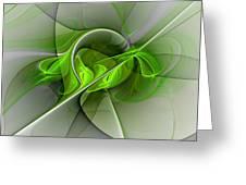 Abstract Green Fractal Art Greeting Card