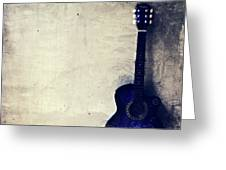 Abstract Guitar In The Foreground Close Up On Watercolor Painting Background. Greeting Card