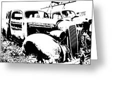 Abstract High Contrast Old Car Greeting Card