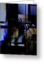 Abstract In Blue-dark Towers Greeting Card