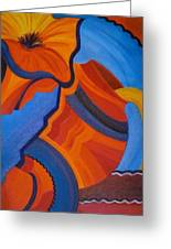 Abstract In Orange And Blue Greeting Card