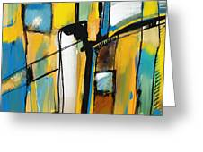 Abstract In Yellow And Blue Greeting Card