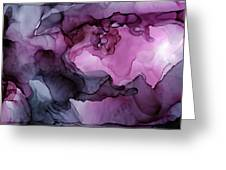 Abstract Ink Painting Plum Pink Ethereal Greeting Card