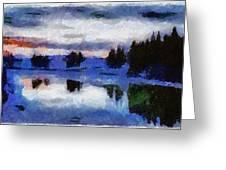 Abstract Invernal River Greeting Card