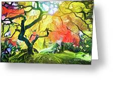Abstract Japanese Maple Tree 5 Greeting Card