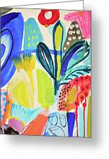 Abstract Jungle And Wild Flowers Greeting Card