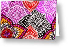 Abstract Mandala Floral Design Greeting Card
