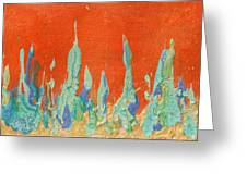 Abstract Mirage Cityscape In Orange Greeting Card