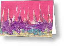 Abstract Mirage Cityscape In Pink Greeting Card by Julia Apostolova
