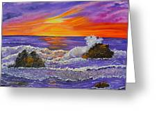 Abstract Ocean- Oil Painting- Puple Mist- Seascape Painting Greeting Card