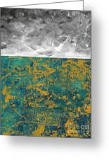 Abstract Original Painting Contemporary Metallic Gold And Teal With Gray Madart Greeting Card
