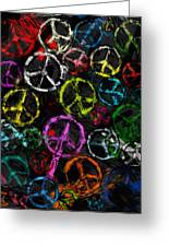 Abstract Peace Signs Collage Greeting Card