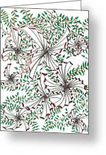 Abstract Red And Green Design  Greeting Card