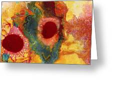 Abstract Red Flower Garden Panoramic Greeting Card
