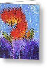 Abstract Red Flowers - Pieces 5 - Sharon Cummings Greeting Card