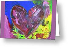 Abstract Red Heart Acrylic Painting Greeting Card