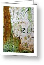 Rust Absract With Stenciled Numbers Greeting Card