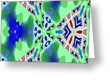 Abstract Seamless Pattern - Blue Green Turquoise Red White Greeting Card