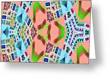 Abstract Seamless Pattern - Blue Pink Green Purple Greeting Card