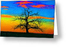 Abstract Single Tree Strong Colors Greeting Card