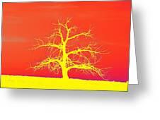 Abstract Single Tree Yellow-orange Greeting Card