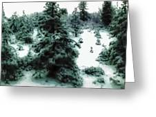 Abstract Snowy Trees Lighter Greeting Card