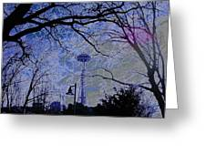 Abstract Space Needle Greeting Card