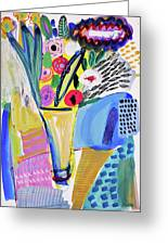 Abstract Still Life With Flowers Greeting Card
