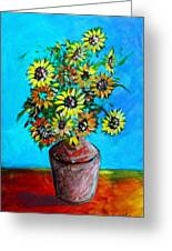 Abstract Sunflowers W/vase Greeting Card