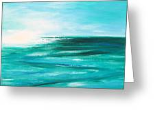 Abstract Sunset In Blue And Green 2 Greeting Card
