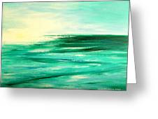 Abstract Sunset In Blue And Green Greeting Card