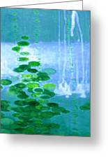 Abstract Symphony In Blue And Green Greeting Card