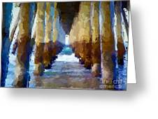 Abstract Under Pier Beach Greeting Card