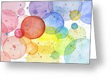 Abstract Watercolor Rainbow Circles Greeting Card