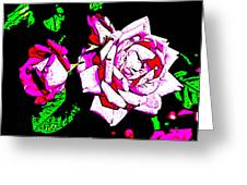 Abstract White Red And Pink Roses Greeting Card