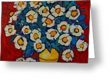 Abstract Wild White Roses Original Oil Painting Greeting Card