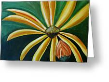 Abstract Yellow Sunflower Art Floral Painting Greeting Card