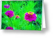 Abstract Zinnias In Green And Pink Greeting Card