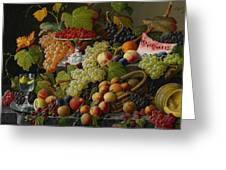 Abundant Fruit Greeting Card by Severin Roesen