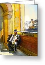 Accordeonist In Florence In Italy Greeting Card