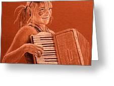 Accordion Girl Greeting Card by Michael Beckett
