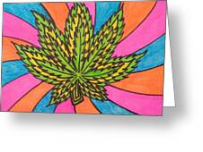 Aceo Cannabis Abstract Leaf  Greeting Card