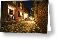 Acorn Street Autumn Boston Mass Painterly Greeting Card