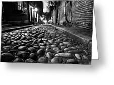 Acorn Street Cobblestone Detail Boston Ma Black And White Greeting Card