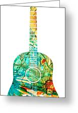 Acoustic Guitar 2 - Colorful Abstract Musical Instrument Greeting Card