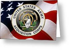 Acquisition Corps - A A C Branch Insignia Over U. S. Flag Greeting Card